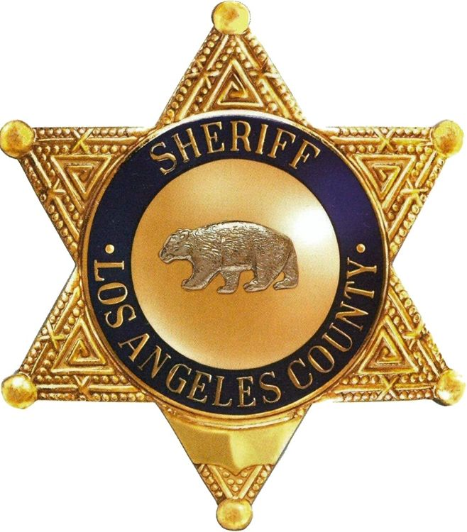 PP-1680 - Carved Wall Plaque of the Star Badge of the Sheriff's Office, Los Angeles County, California, Gold Leaf Gilded