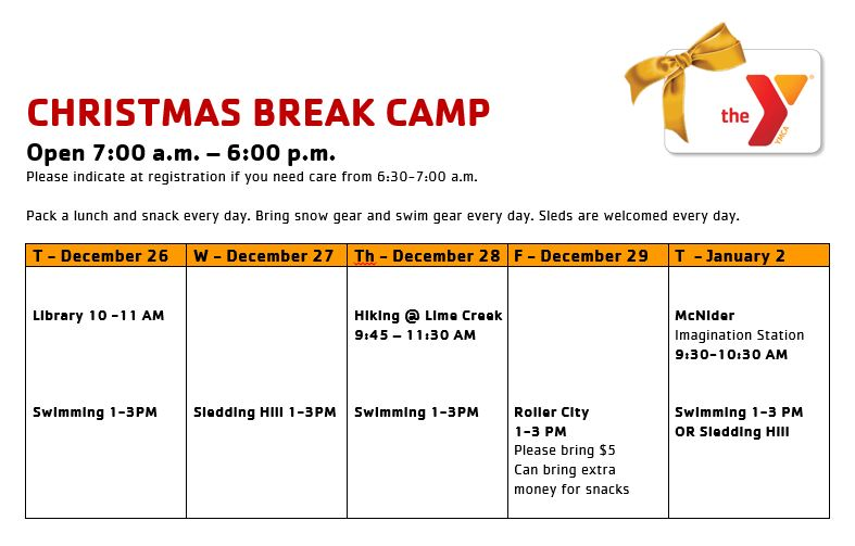 sign up for christmas break camp now - When Does School Start Back After Christmas Break