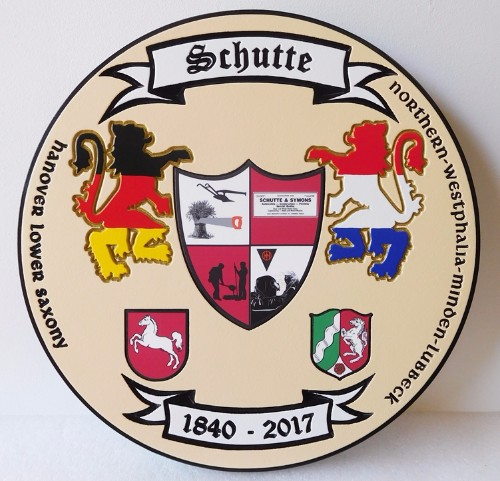 N23367 - Carved, Engraved  Wall plaque featuring a Germanic Family Coat-of-Arms, a Wappen