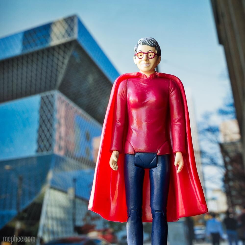 It's a bird, it's a plane - it's a librarian! Nancy Pearl Action figure from Archie McPhee.