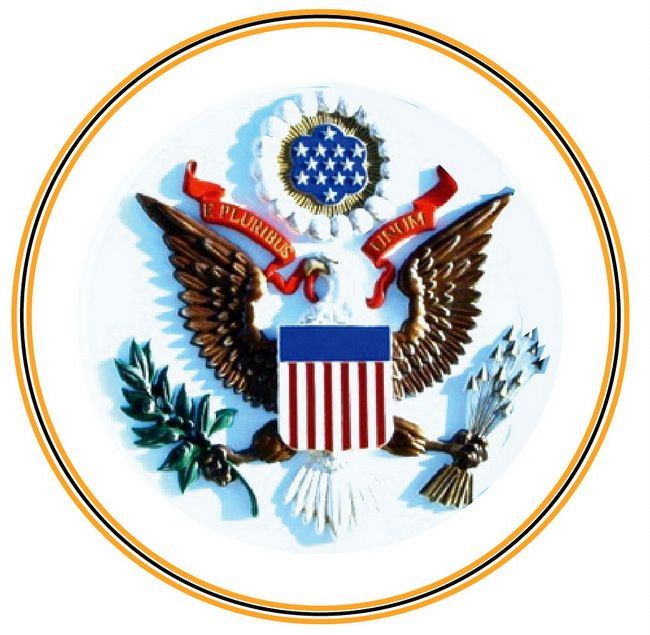 """U30012 - Full Color 3-D Carved HDU """"Great Seal of America """" Wall Plaque, without Outer Border and Text"""