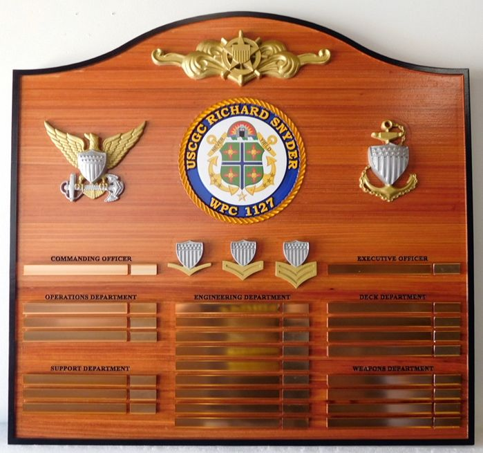 NP-2485 - Carved Ship's Command Board  for  US Coast Guard Cutter Richard Snyder,  Redwood with Brass Tags & 3-D Insignia