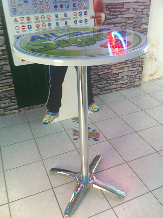 Cocktail table with graphics