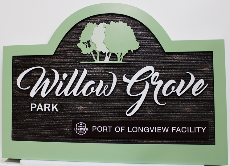 GA16435 - Carved and Sandblasted  carved High-Density-Urethane (HDU) EntranceSign for Willow Grove Park, Port of Longview, WA