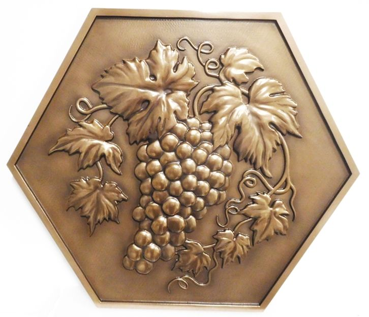VP-1342 - Carved Logo of Vineyard in California, Grape Cluster, 3-D, Bronze Plated
