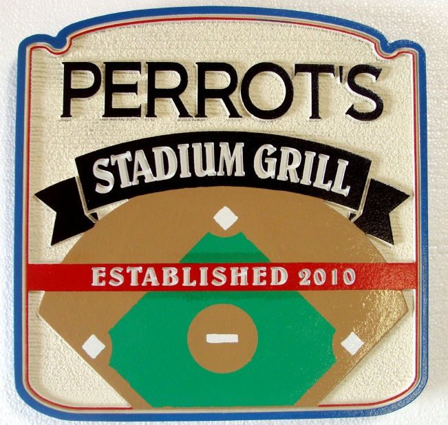 Y27315 - Carved Baseball Diamond Sports Bar & Grill  Sign