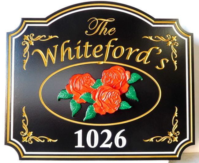 AG102 - Beautiful Residence and Address Sign, with Carved 3-D Rose Cluster