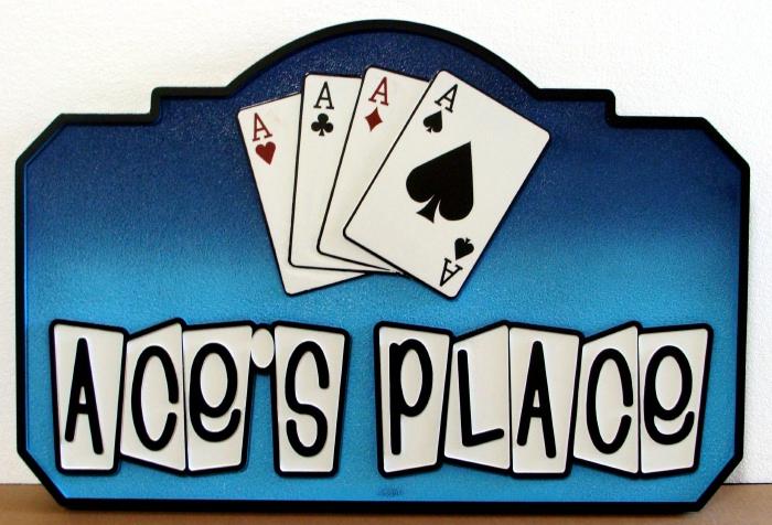 RB27340 - Carved Poker Hand Sports Bar Sign