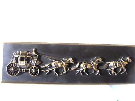 O24332 - Bronzed Stage Coach 3-D BasRelief Applique for Western Plaque
