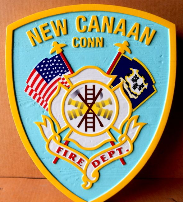X33876 - Carved Wood Wall Plaque of the Logo of the Fire Department of New Cannaan, Connecticut.