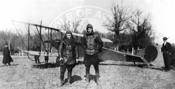Leon Klink (L) and Lindbergh (R) barnstorming in a Curtiss JN-4D Jenny