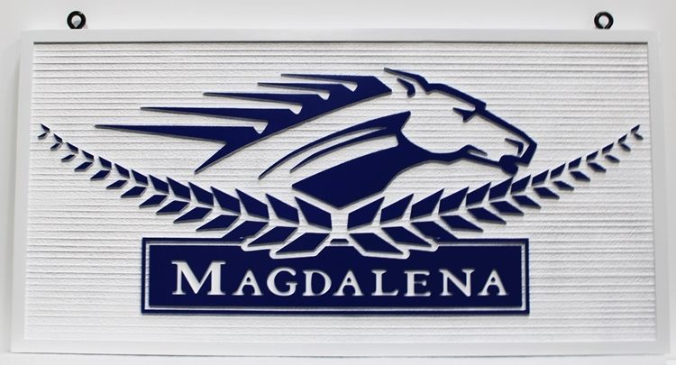 """P25083 - Carved and Sandblasted Wood Grain HDU Sign """"Magdalena""""features the Head Profileof a Racing Horse as Artwork"""
