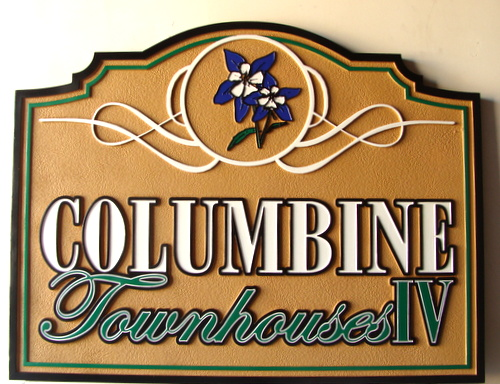 "K20143 - ""Columbine"" Townhouse Development Sandblasted Entrance Sign with Columbine Flower"