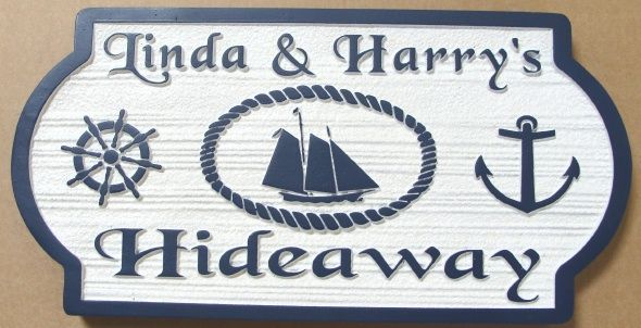 """L21771 - Sign for a the """"Hideaway"""" Coastal Residence,  Carved Schooner  Ship, Anchor and Helm"""