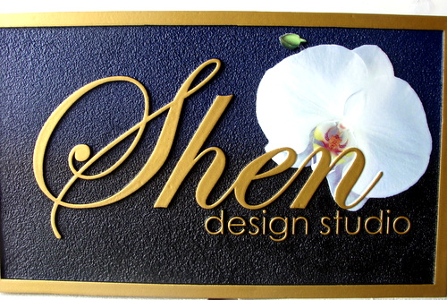 SA28006 - Sandstone-Look Carved HDU Sign with Flower for Design Studio