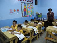Philippine students receive desks