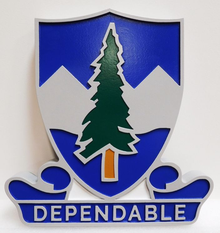 "MP-2074 - Carved Plaque of the  Crest of United States Army  383rd Regiment Unit  with Slogan "" Dependable"", Artist-Painted"
