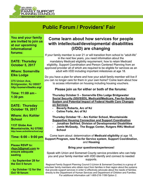 Public Forum / Providers' Fair (Somerset & Union Counties)