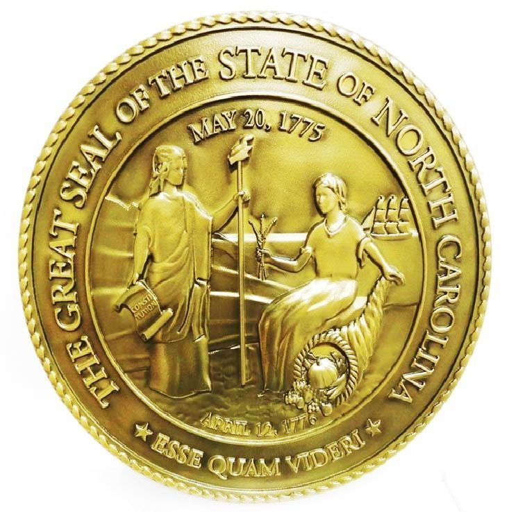 W32383  - Carved 3-D Brass-plated Plaque of the Great Seal of the State of North Carolina