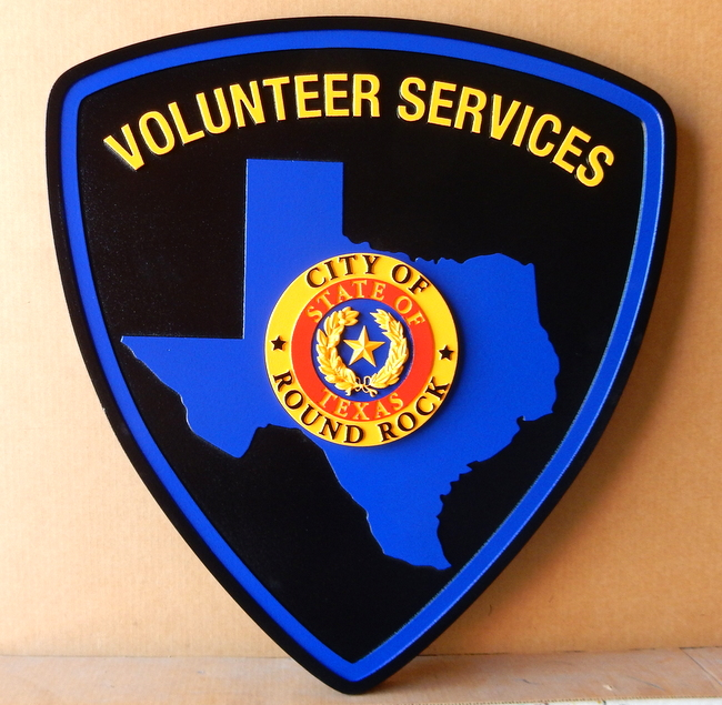 PP-2260 - Carved  Wall Plaque of the Shoulder Patch of the Round Rock City Volunteer Services, Texas, Artist Painted