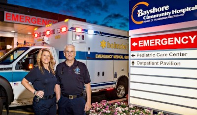 Serena and Angelo stand outside Bayshore Community Hospital