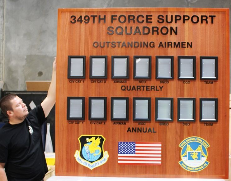 SB1150 -  Airman Award Photo Board was made for  the 349th Force Support Squadron, Carved from California Redwood.