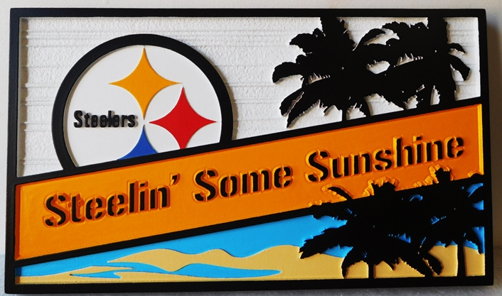 "L21133 - Coastal Residence Name Sign ""Steelin' Some Sunshine"" with Ocean, Palm Trees, and the Pittsburg Steelers Logo as Artwork"