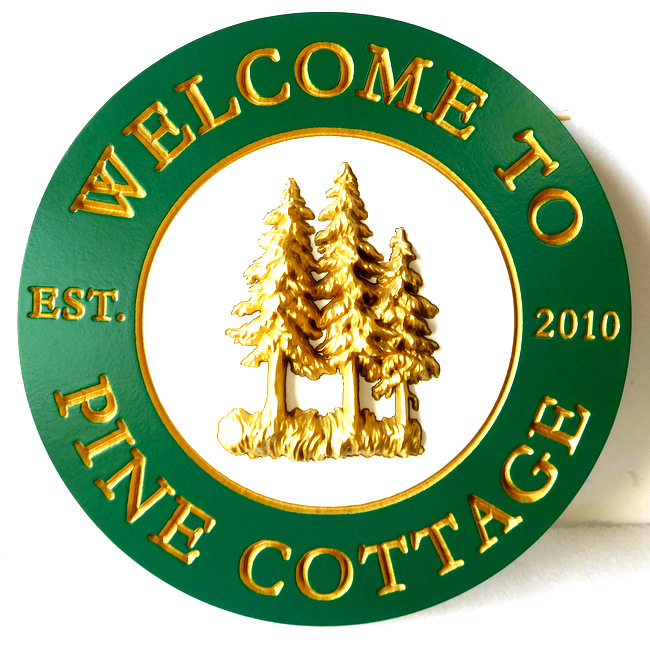 M22056 - Pine Cottage Name Sign (Round) with 3-D Pine Trees