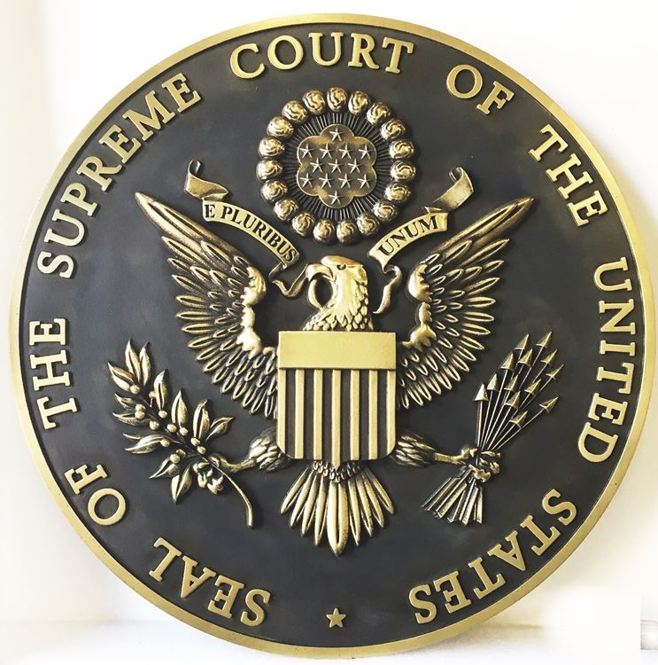 U30122 -   3-D Polished Brass Wall Plaque of the Seal for the US Supreme Court