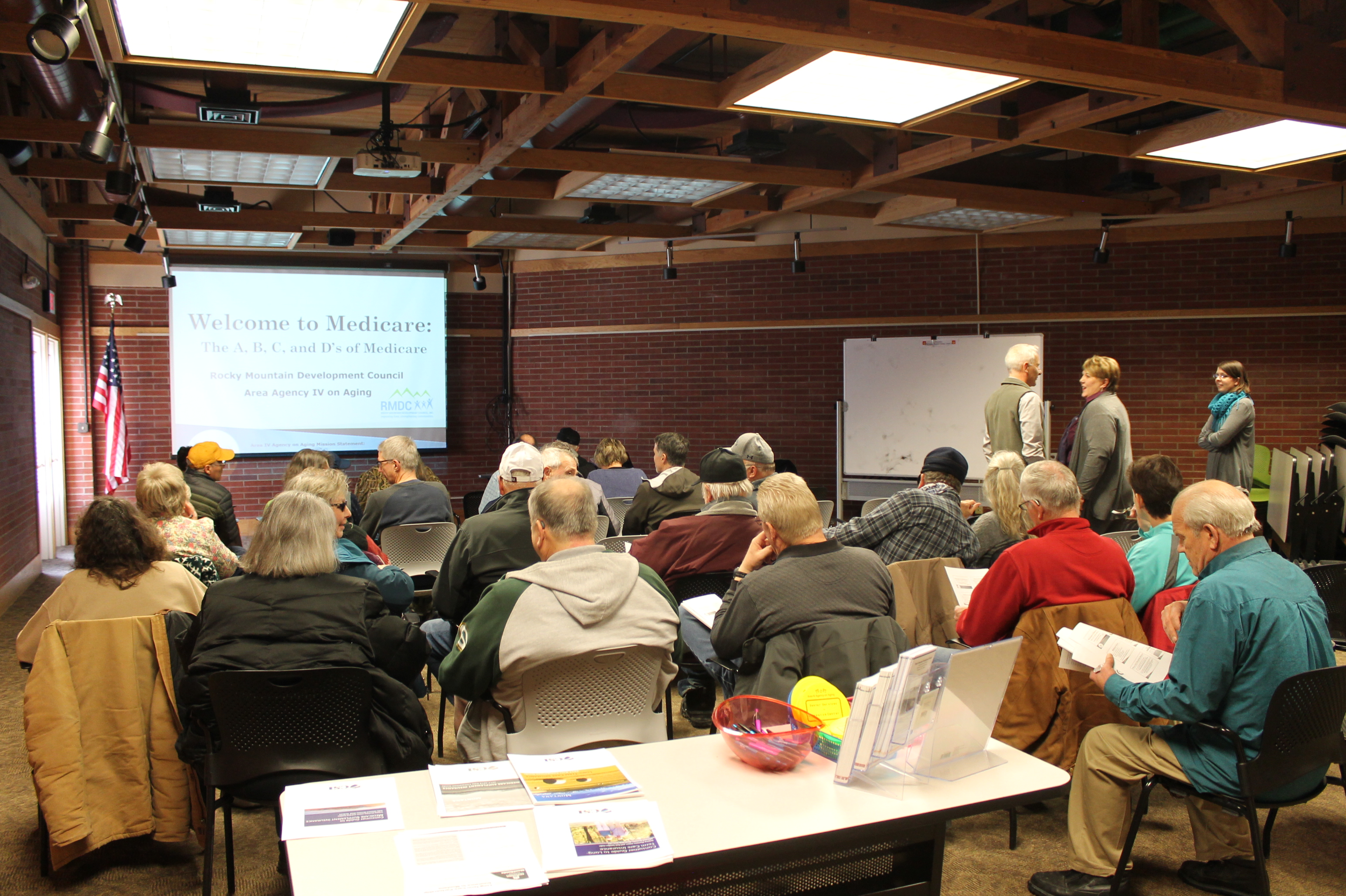 Pictured: A classroom styled Welcome to Medicare session hosted at the Lewis & Clark Library in Helena, MT.