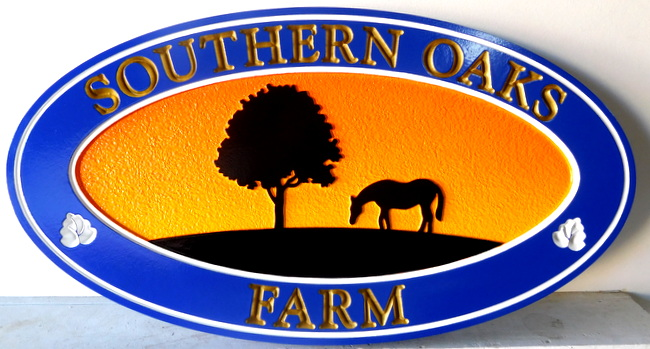 O24225 - Elliptical  Carved Southern Oaks Farm Sign with Silhouette of Tree and Horse, at Sunset