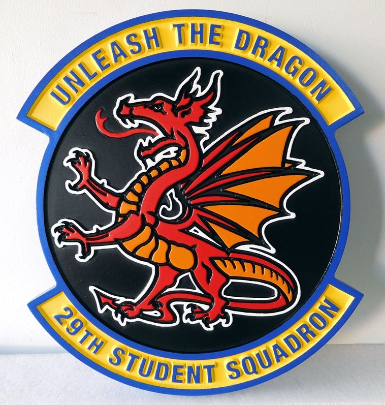 V31571 - Carved Wall Plaque of the Crest for  29th Student Squadron