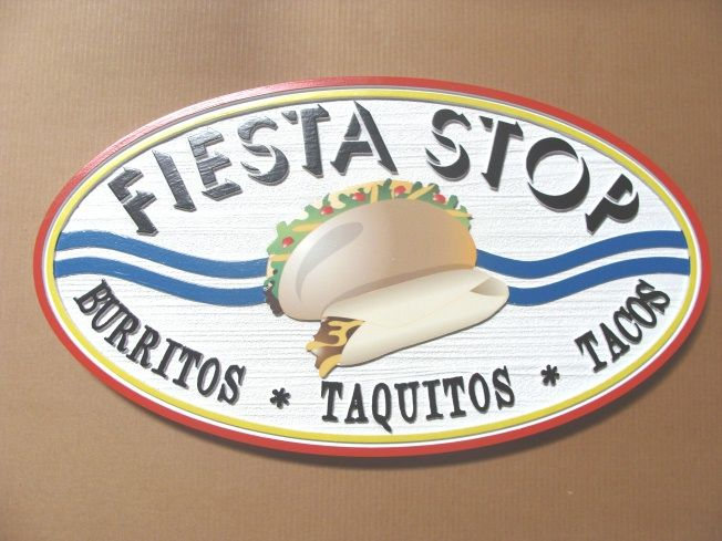 Q25515 - Burrito, Cafeteria Interior Hanging Sign