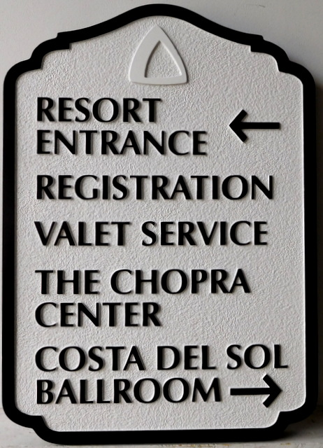 T29415 - Carved and Sandblasted  HDU Wayfinding Resort Hotel Sign