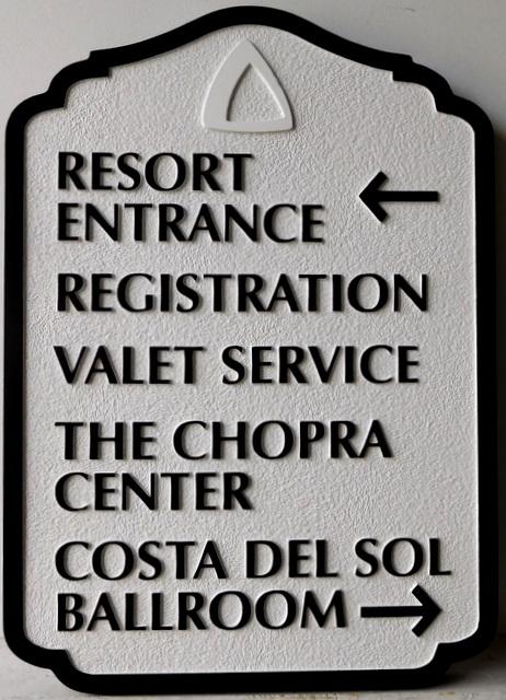 T29415 - Carved and Sandblasted  HDU Wayfinding Resort Hotel Sign