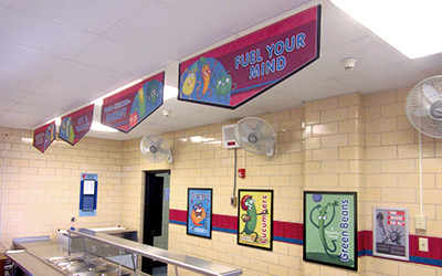 4 food banners hanging above school serving line with food characters, school banners, Breakfast = Success