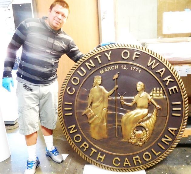 W32386  -  Carved 3-D Brass-plated Plaque of the Great Seal of the State of North Carolina