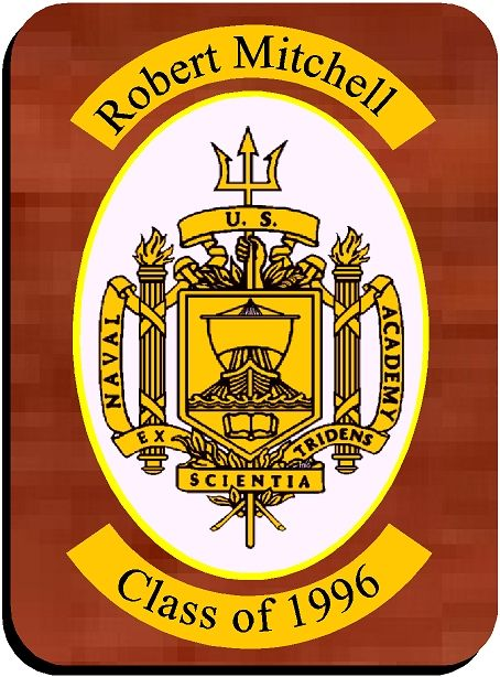 V31389 - Personalized US Naval Academy Carved Wood Wall Plaque