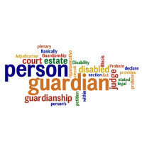 Disaply of many words related to guardianship.