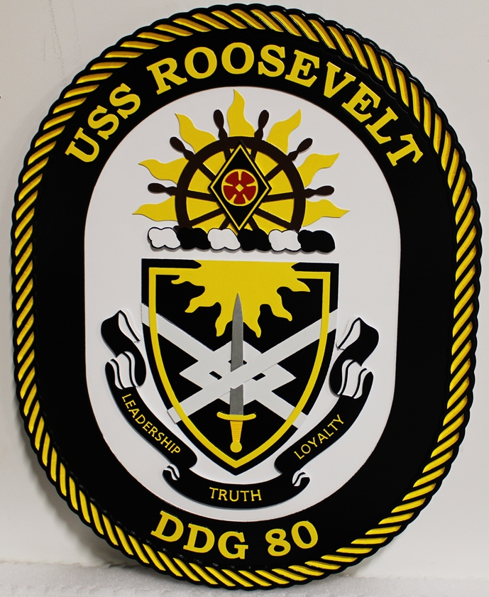 JP-1316 - Carved Plaque of the Ship's Crest of the USS Roosevellt Destroyer DDG 30,  2.5-D Multi-Level  Relief, 2.5-D Artist-Painted