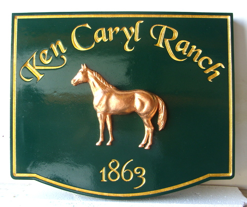 P25035 - Custom Equine Ranch Wooden Sign, with Sculpted 3-D Horse