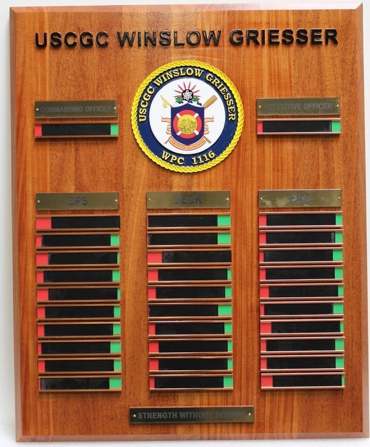 V31990  - Carved Redwood Chain-of-Command Board for USCGC Winslow Grieser, WPC 1116