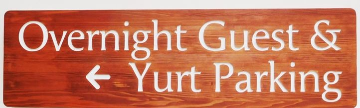 T29431 - Carved and Engraved Directional Sign for a Hotel Complex, Western Red Cedar Wood