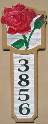 I18218- Sandblasted Address Sign, Vertical Orientation, with 3-D Carved Rose