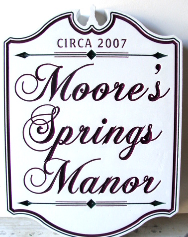 I18114 - Carved Wood Property Name Sign for Moore's Spring Manor House, Colonial Style