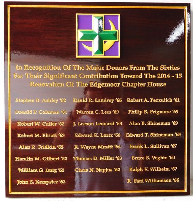 SB1210 - Donor Plaque for Lambda Chi Alpha Fraternity Alumni, Cornell University, Ithaca, New York, Carved in African Mahogany with 24K Gold-Leaf Gilded Text
