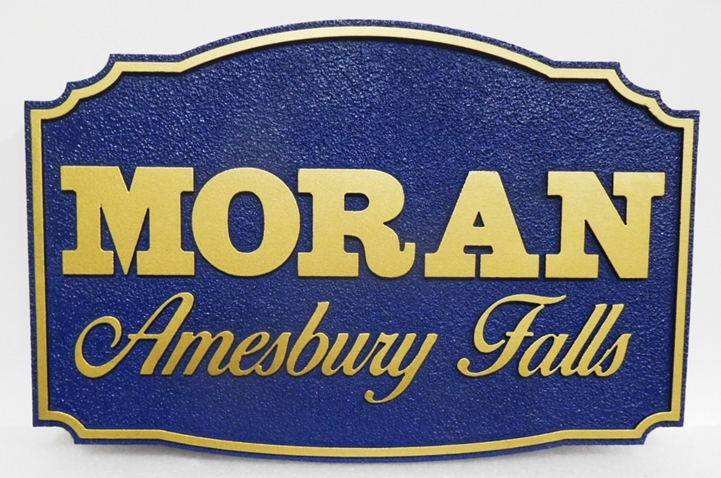 F15395 -  Large Carved HDU  Entrance  Sign for Moran Amesbury Falls, 2.5-D Raised Relief, Artist-Painted
