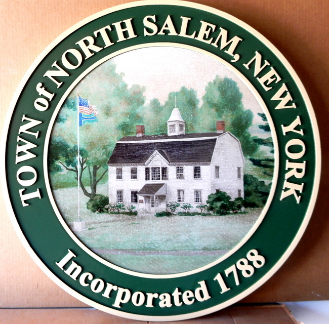 X33143 - Carved Wall Plaque of the Seal of the Town of North salem,New York, with  scene of heritage building