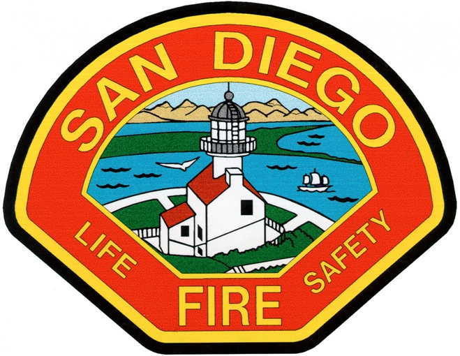 QP-2100 - Carved Wall Plaque of  the Shoulder Patch of the San Diego Fire Department, California, Artist Painted