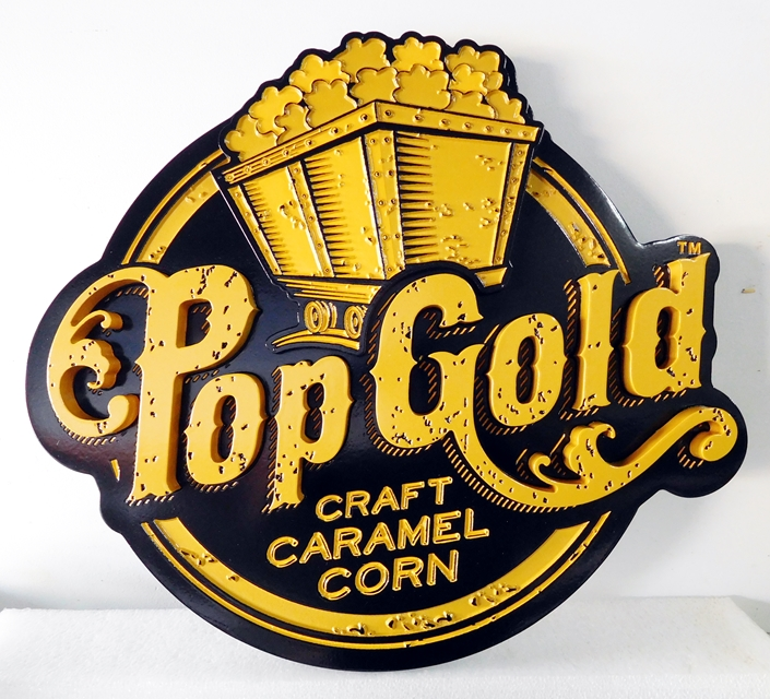 Q25813 - Carved, High-Density-Urethane Sign for Craft Caramel Corn Pop Gold Popcorn